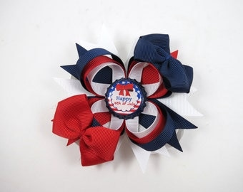 Red White and Blue 4th of July Hair Bow - Patriotic Headband - Red Hair Bow - Blue Hair Bow - 4th of July Headband - White Hair Bow