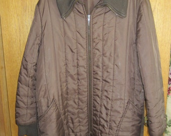 Womens Brown Quilted Car Coat Jacket size L Vintage 1960s