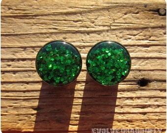 Emerald Green Dragonscale Glitter Plugs - 0g, 00g, 7/16, 1/2, 9/16, 5/8, 3/4, 7/8, 1 Inch