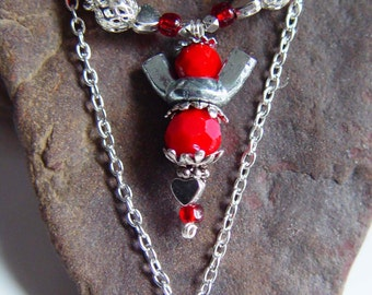 """Antique Silver and Blood Red Beaded Wingnut Angel """"Love"""" Necklace"""