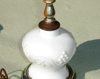 Vintage Milk Glass Lamp - Simple Grape Design