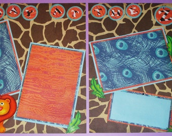 12x12 Premade Two Page Scrapbook Layout- A Day at the Zoo