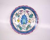 Vintage Kutahya Turkey Handmade Plate Artist Signed Floral Design 7 Inch