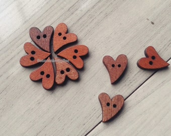 zakka Buttons,H Wooden buttons,Nature Style,Wood heart,16mm x22mm -(5 in a set)(FN85)