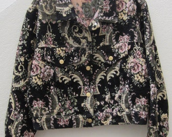 Black Jean Jacket Style With Pink, Green, Yellow Colors  Size Small c 1980