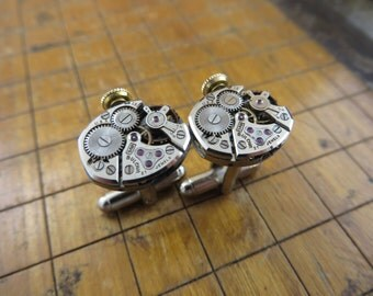 Bulova 5AD Watch Movement Cufflinks. Great for Fathers Day, Anniversary, Groomsmen or Just Because.  #570