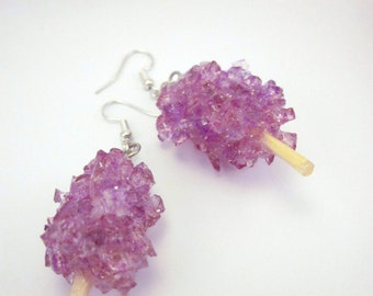 Rock Candy Earrings. Grape Fizz Sugar Crystals Fishhook. Candy Lolita Cosplay. Sweet Treat. Candy Stick. Carnival Snack. Sugar Junkie.
