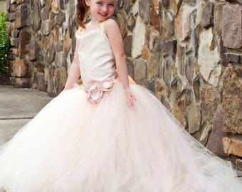 Flower Girl Floor Length Sewn Tutu Dress in Blush and Gold Satin Corset Top with Tulle Sequin Overlay Detachable Train CUSTOMIZABLE
