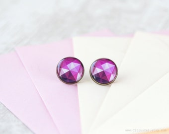 Purple pink triangle stud earrings, Geometric stud earrings, purple studs, geometric jewelry