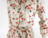 70s Tie Blouse and Pleated Skirt in Red and Black Floral on White - sm, med