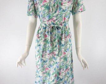 Vtg 70s Short Sleeve Belted Shift Day Dress - lg
