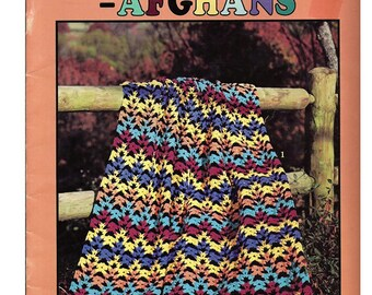 Scraps + Black = Afghans Crochet Pattern Book Leisure Arts 2913