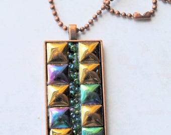 Mini Mosaic pendant,1, one of a kind, mosaic tiles, antique copper finish, gold, purple, green, blue