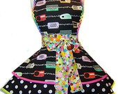 "Kerry Beary Fabric Retro Radio Diner/Pinup Apron--A ""Tie Me Up Aprons"" Exclusive Limited Edition"