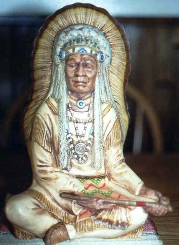 Ready To Paint Native American Indian Chief Sitting Headdress