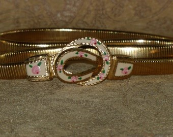 Metal Stretch Belt with Enamel Flower Buckle Gold Tone Snake Vintage