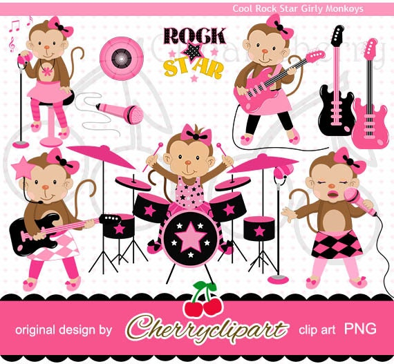 Pink Cool Rock Star Girly Monkeys digital clipart set-Personal and Commercial Use- for Card Design, Scrapbooking, and Web Design