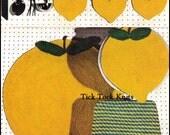 No.257 Crochet Pattern PDF Vintage - Lemon Fresh Kitchen Set - Rug, Stool Cushion, Chair Seat Cover & Pot Holders - Retro Crochet Pattern