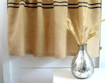 Burlap Curtain Valence / Grains Sack Curtain / Burlap Curtain / Cottage Chic Valence / Rustic Valence / Rustic Curtains / Custom Curtains /