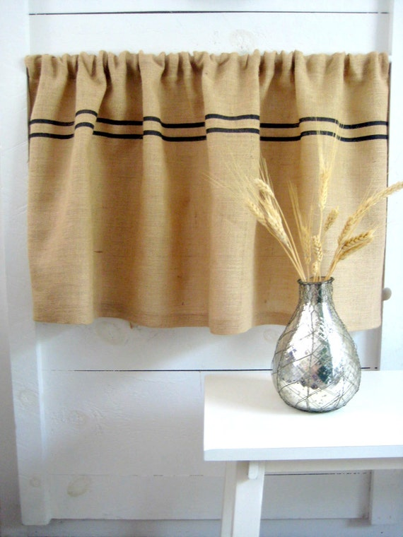 burlap curtain valence grains sack curtain burlap curtain. Black Bedroom Furniture Sets. Home Design Ideas