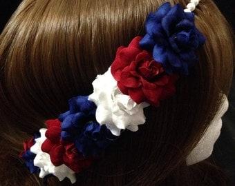 Pre-Order Patriotic Rose Pearl Band Goddess Flower Crown Headband Red white Blue USA