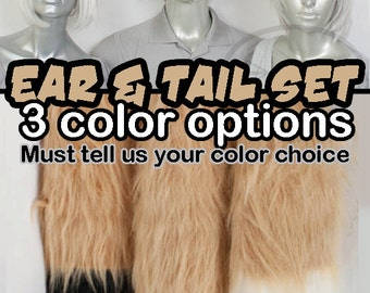 Gold Tan Furry Fox Tail and Ears, Cosplay, Accessories, Costume, Highly Customizable