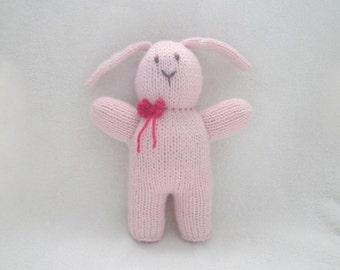 "Pink Easter Bunny with Bow, Hand Knit, Soft Stuffed Plush, 10"" Tall, Softie"