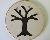 "Cotton anniversary gift -  Liberty fabric. Add a new leaf each year of marriage. Applique tree in 8"" wooden hoop frame"