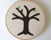 "Green cotton anniversary gift -  Add a new leaf each year of marriage. Applique tree in 8"" wooden hoop frame"