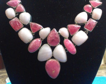 Gorgeous Pink Peruvian Opal with Rhodochrosite Silver Sterling Necklace
