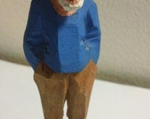 Vintage Nautical Folk Art Hand-Carved Wooden Figurine ~ Fisherman/Sea Captain in Skipper's cap & blue sweater ~ signed Hannah Canada