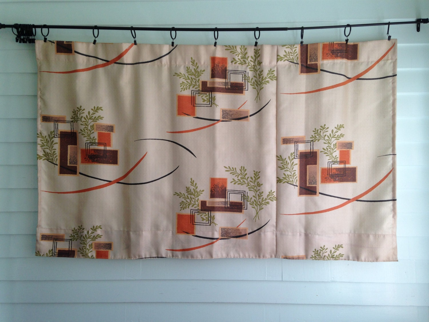 Vintage Mid Century Modern Style Curtain Pattern Brown and