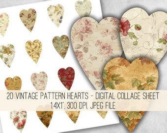 Vintage Pattern Hearts Clipart - Digital Collage Sheet Download 987 - Instant Download Printables