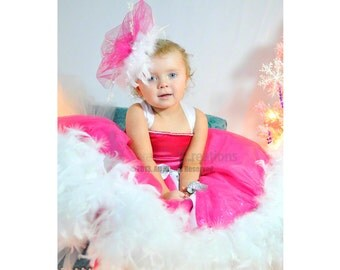 Pretty In Pink  - Girls Feather Dress - Girls Dress
