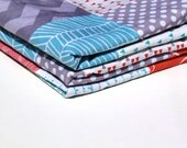 Baby Blanket, Aqua, Coral and Grey Patchwork Blanket with Grey Minky