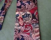 BKool Vintage Necktie, TABASCO, Blue n Red w Logo, Tabasco Bottle, Sea Themed, Silk Mens Ties, Excellent Cond.