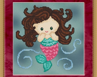 Cross Stitch Pattern Sweet Little Mermaid #3 Design Instant Download PdF Cute Aquatic Fantasy Design