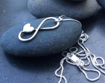 Sterling silver jewelry,  Infinity heart necklace, eternal love
