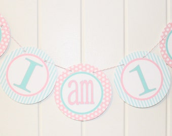 LOOK WHOOO'S .... OWL Theme Birthday or Baby Shower Highchair Banner I Am One Pink Aqua - Party Packs Available