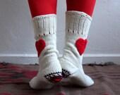 Cream Wool Socks, Heart Socks, Knit Wool Socks, Unisex Socks Holiday Fashion, Christmas Gift, Winter Accessories