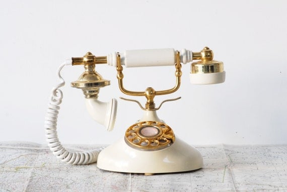 Vintage Ivory and Gold Rotary French Phone with Cameo - Working Princess Telephone