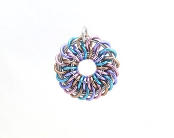 Pastel Jewelry, Chain Maille Pendant, Jump Ring Jewelry, Aluminum Jewelry, Multicolor Pendant