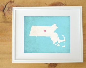 Massachusetts Silhouette State Map Customizable Art Print
