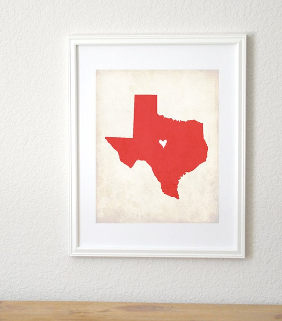 Texas Rustic State Map, Personalized Texas Art, Texas Wedding Map, Wedding Gift, Anniversary Gift, 8x10 Print.