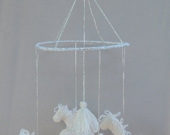 White baby mobile with silvere necklace of the horses, horse mobile, nursery mobile - DREEMS RIDER- baby gift