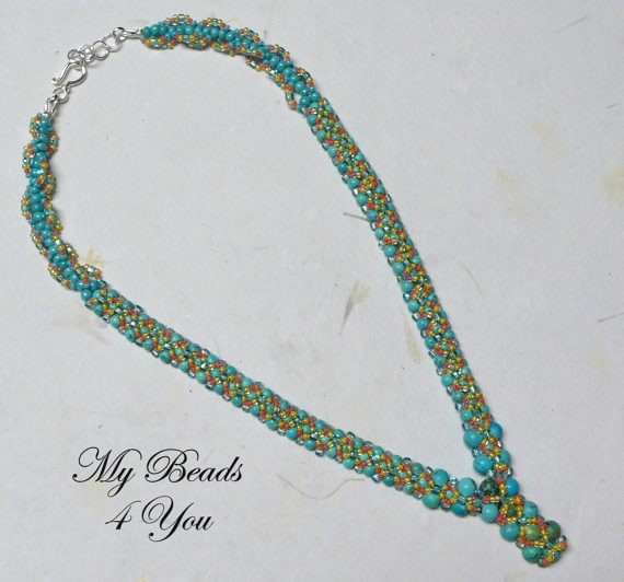 Beadwoven Necklace, Embellished Beaded Necklace, Beadwoven Tutorial,Seed Bead Necklace, Turquoise Beaded Necklace, Beadwork Jewelry