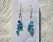 Sleeping Beauty Turquoise Dangle Pierced Earrings, Simple Yet Elegant, Casual  and Dressy