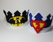 Birthday Crown - Super Hero - Birthday Hat - Waldorf Crown - Batman - Superman