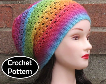 CROCHET HAT PATTERN Instant Download Pdf - Prismatic Slouchy Beanie Hat Womens Teens - Permission to Sell English Only