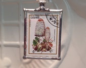 Mushroom Pendant Indo-China Stamps Christmas Birthday Gift Statement Necklaces